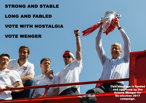 A fictional Arsene Wenger campaign poster
