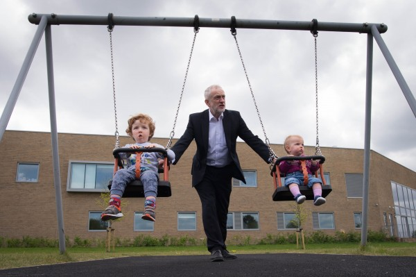 Labour leader Jeremy Corbyn with two children