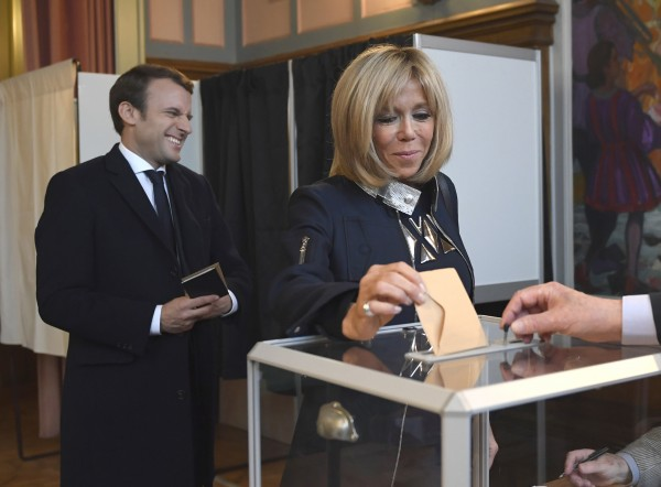 Macron with his wife Brigitte.