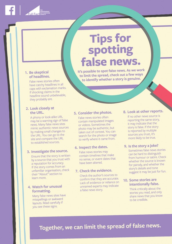 Facebook advert for spotting fake news