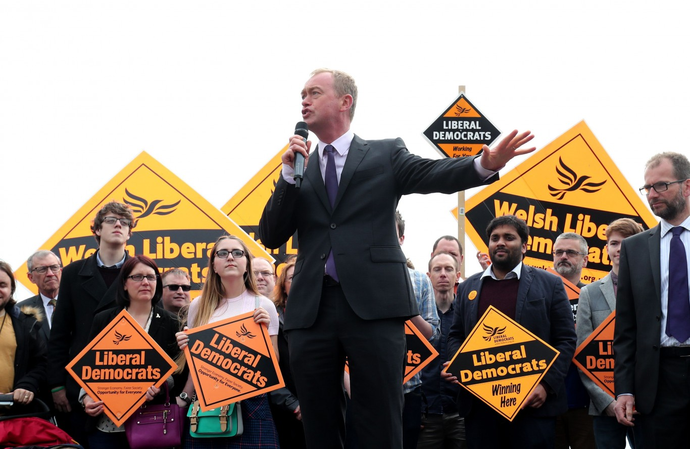 Liberal Democrats leader Tim Farron delivers a speech as he launches the party's Welsh campaign in Cardiff Bay, Wales.