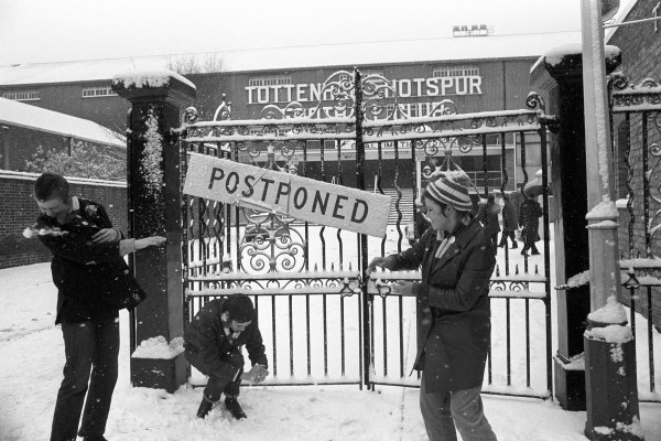 Supporters in the snow