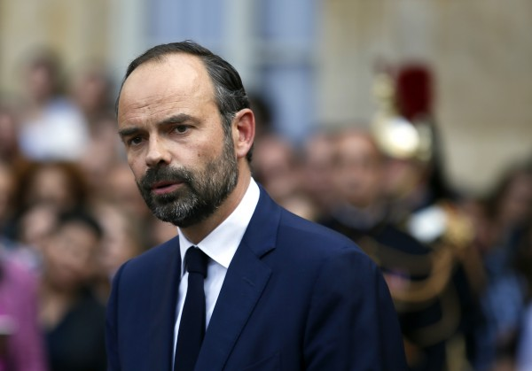 Newly appointed French prime minister Edouard Philippe speaks after the handover ceremony in Paris, Monday, May, 15, 2017.