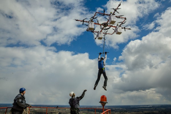 Latvian sky diver performs 'world's first drone jump' from 1082 feet