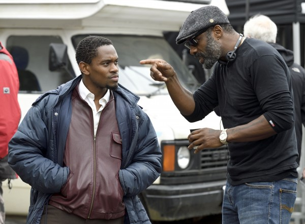 Idris Elba (right) with lead actor Aml Ameen on the set of Yardie