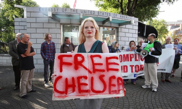 Lorna Bouge from Limerick joins anti-war protesters as they mount a Free Bradley Manning demonstration at the US Embassy
