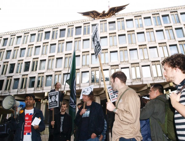 Demonstrators at the US embassy in London