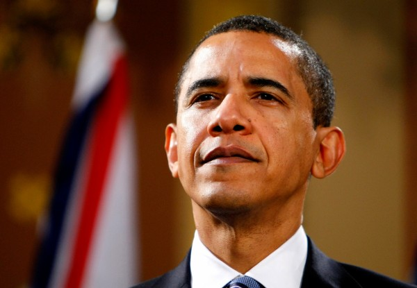 US President Barack Obama pictured at a press conference at the Foreign and Commonwealth Office in London.