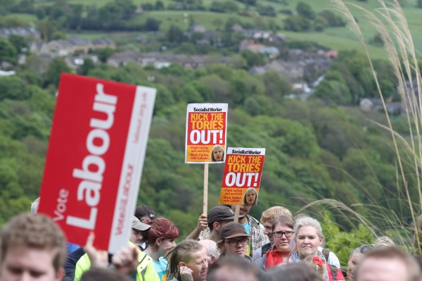 Supporters gather ahead of a stump speech by Labour leader Jeremy Corbyn