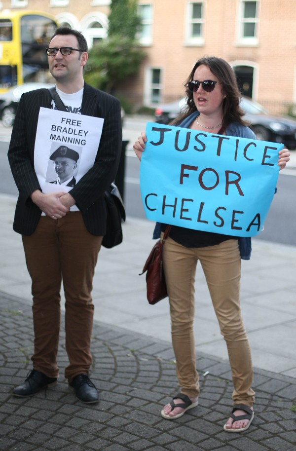 Anti-war protesters mount a Free Bradley Manning demonstration at the US Embassy, Ballsbridge Dublin, the day after he was sentenced to 35 years in prison for sending classified information to WikiLeaks.
