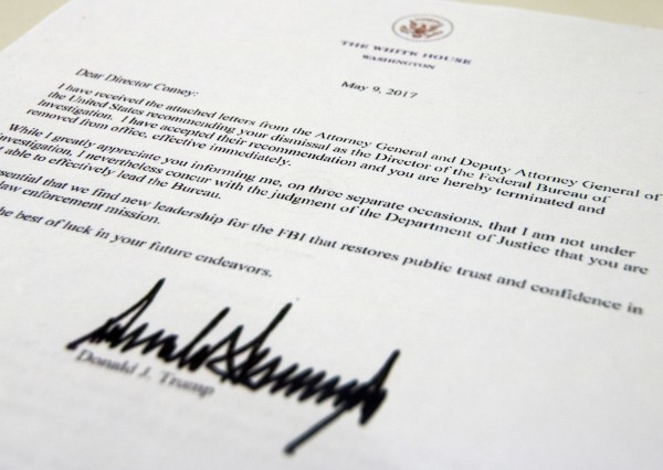 Letter from Trump to Comey