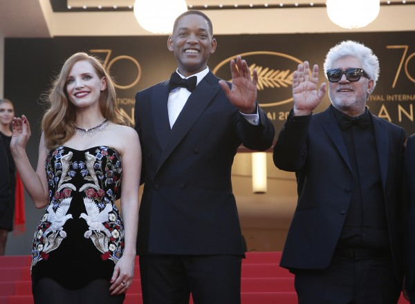 Jury members Jessica Chastain, from left, Will Smith and jury President Pedro Almodovar