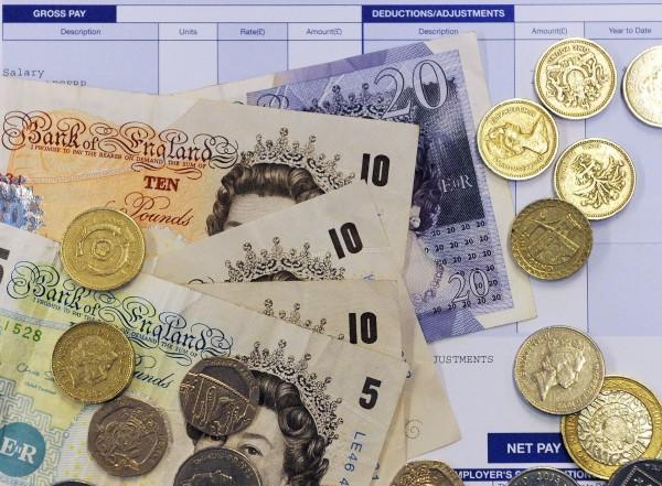 coins on a payslip