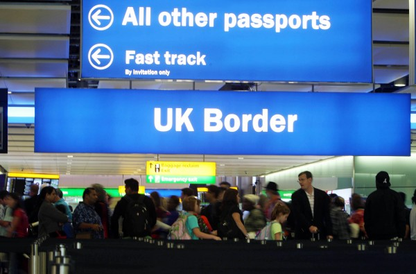 passengers going through the UK Border