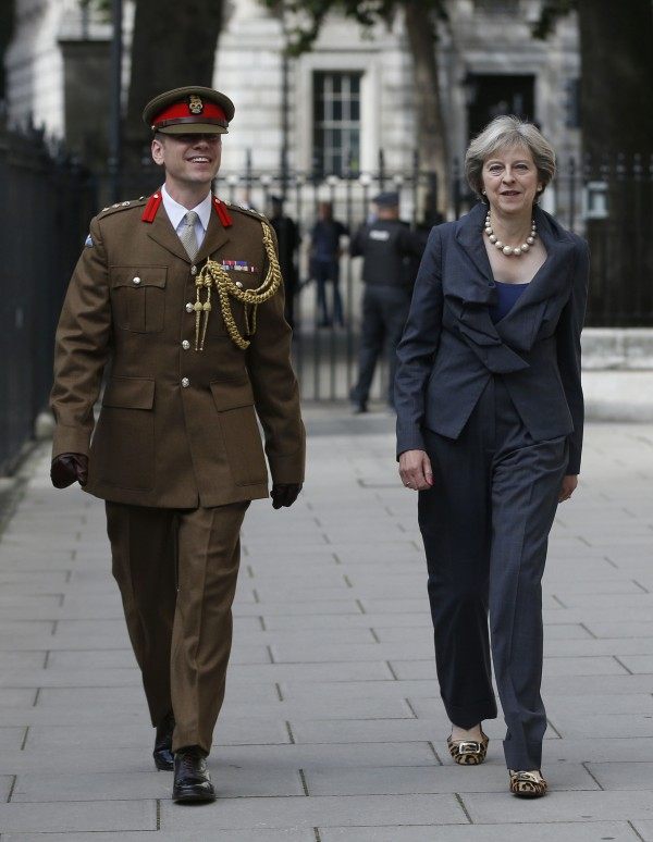 Prime Minister Theresa May and Colonel John Clark, one of her Military Advisors,