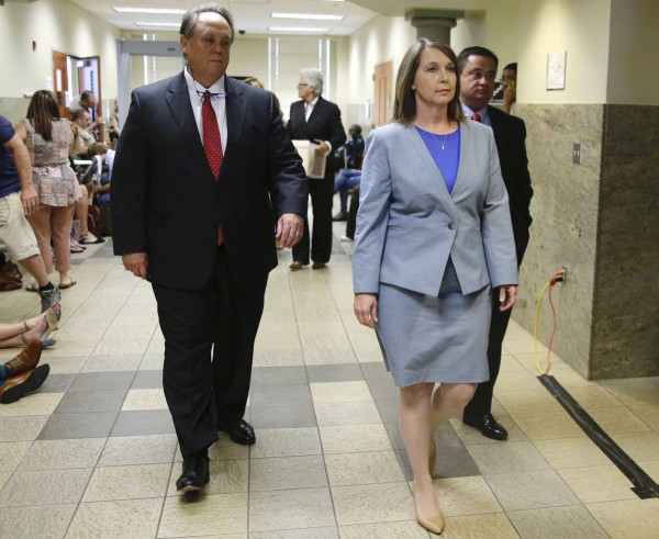 Tulsa Police Officer Betty Jo Shelby, right, leaves the courthouse to wait for a verdict with attorney Scott Wood
