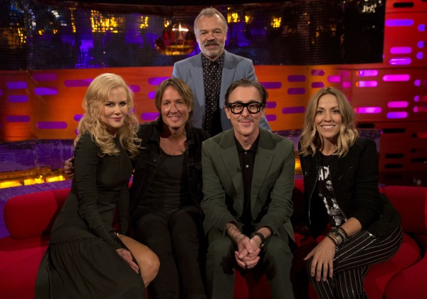Nicole Kidman, Keith Urban, Graham Norton, Alan Cumming and Sheryl Crow filming The Graham Norton Show (Isabel Infantes/PA)