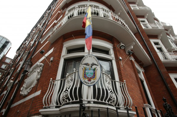 The Ecuadorian flag flies outside the embassy in London.