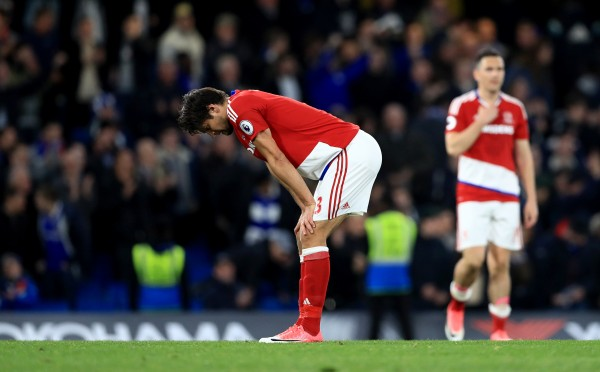 Middlesbrough players react after the final whistle against Chelsea