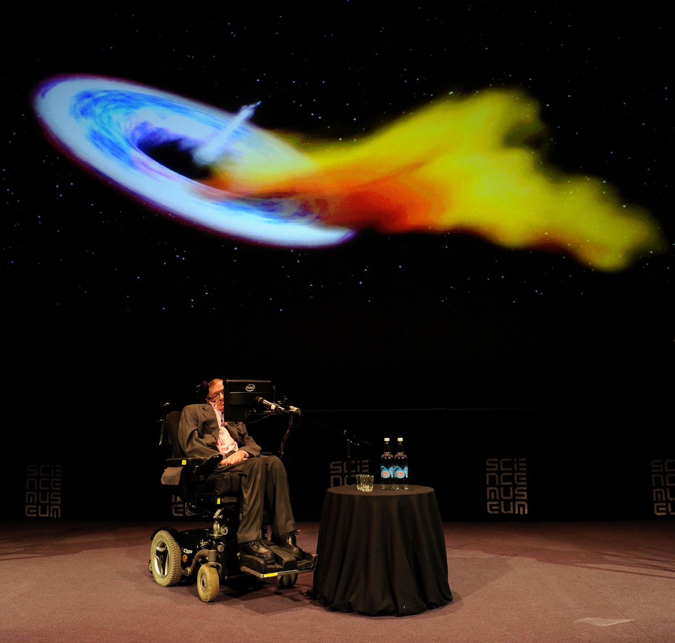 "Professor Stephen Hawking during a talk at the Science Museum, London, ahead of the opening of the the museum's new ""Collider"""