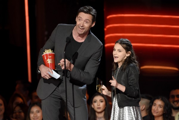 Hugh with Logan co-star Dafne Keen.