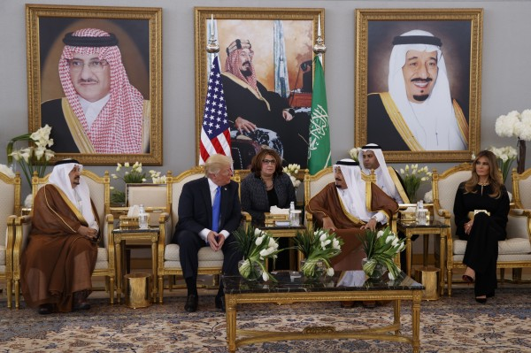 President Donald Trump meets with Saudi King Salman