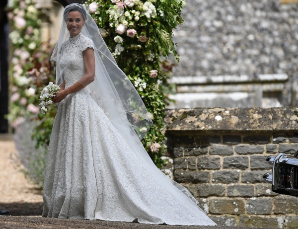 The Duchess of Cambridge's sister Pippa Middleton arrives at St Mark's church in Englefield, Berkshire, for her wedding to her millionaire groom James Matthews