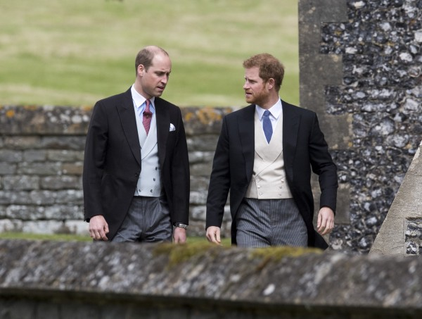 The Duke of Cambridge and Prince Harry arrive ahead of the wedding of Pippa Middleton t