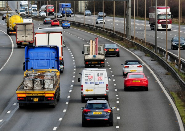 vehicles travelling along the M1 motorway