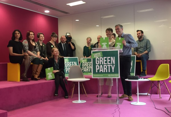 Green Party co-leaders Caroline Lucas and Jonathan Bartley launch the party's 'Green Guarantee