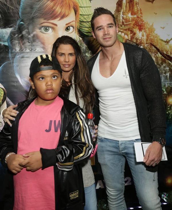 Katie Price with her son Harvey and husband Kieran Hayler (Yui Mok/PA)