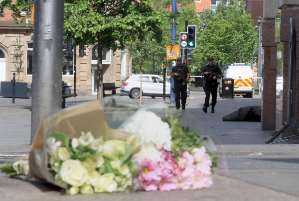flowers left near the scene in manchester (Danny Lawson/PA)