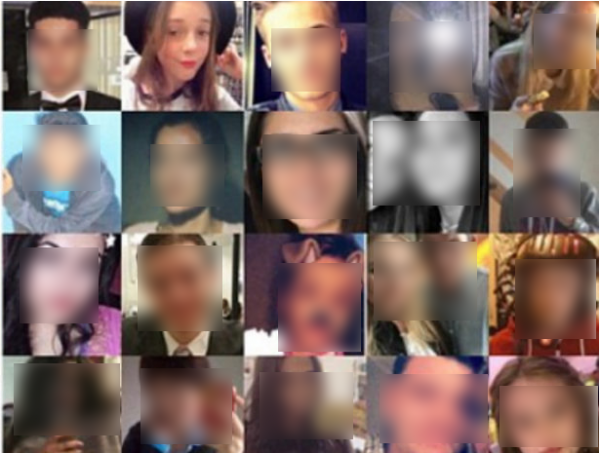 Gemma seen in the montage incorrectly bearing her image, second from top left, with the faces of  other supposed victims blurred