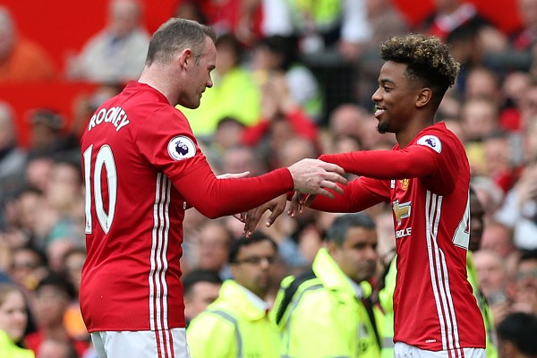 Wayne Rooney is substituted for Angel Gomes