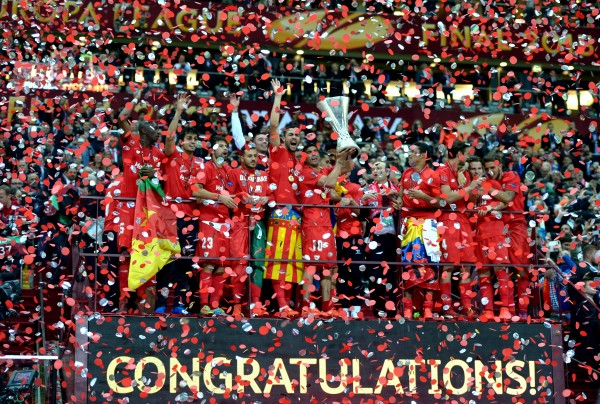 Sevilla celebrate winning the Europa League trophy