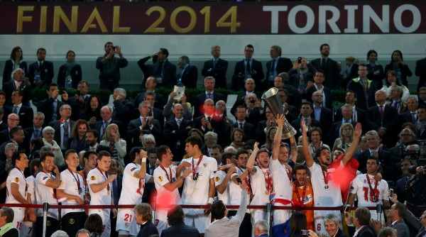 Sevilla celebrate winning the Europa League