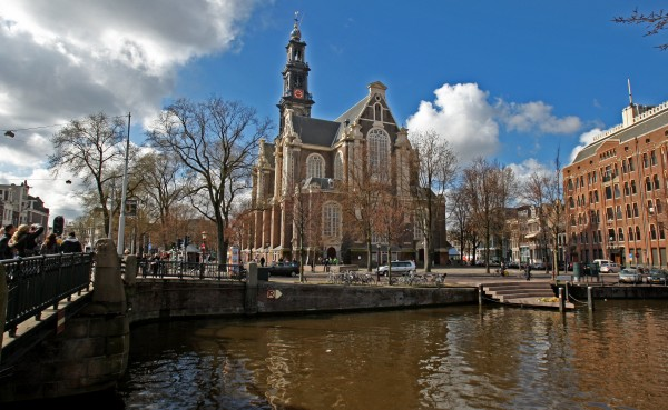 A view of the Westerkerk church next to the Anne Frank house