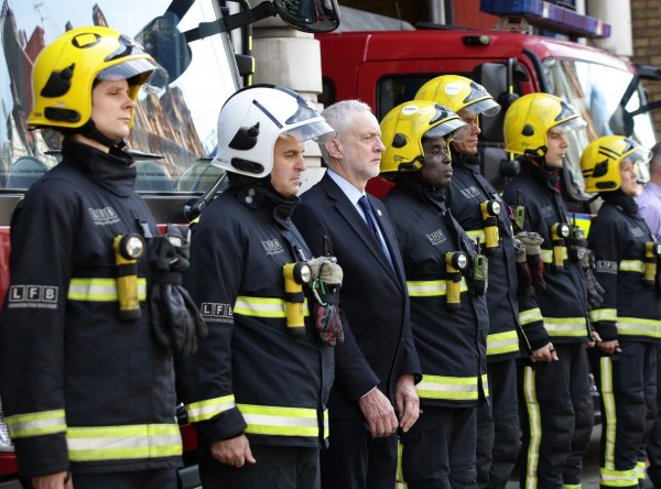 Corbyn with firefighters