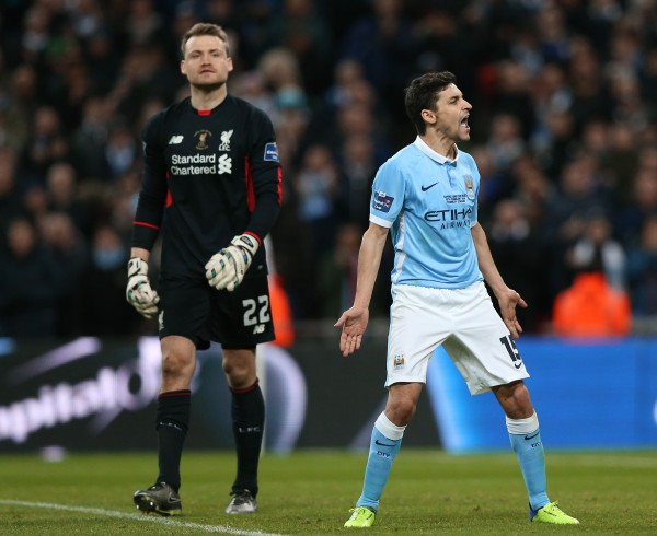Manchester City's Jesus Navas celebrates scoring a penalty in the 2016 League Cup final