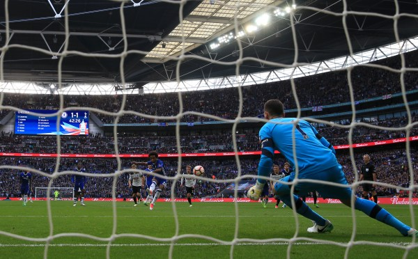 Chelsea's Willian scores a penalty in the FA Cup semi-final