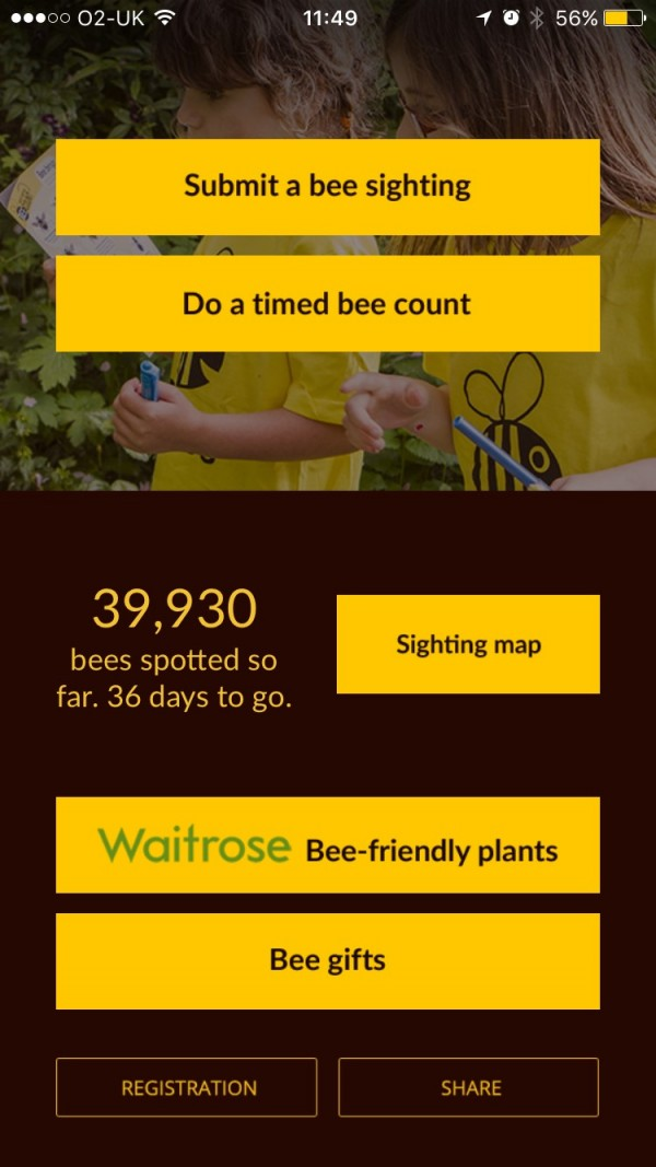 Screenshot from the Great British Bee Count App from Friends Of The Earth