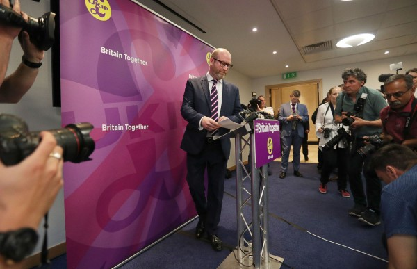 Ukip leader Paul Nuttall arrives to launch his party's General Election manifesto