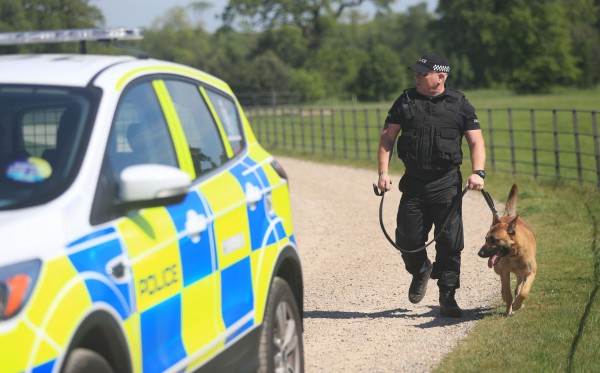 A police officer patrols outside Burton Constable Hall in Hull.