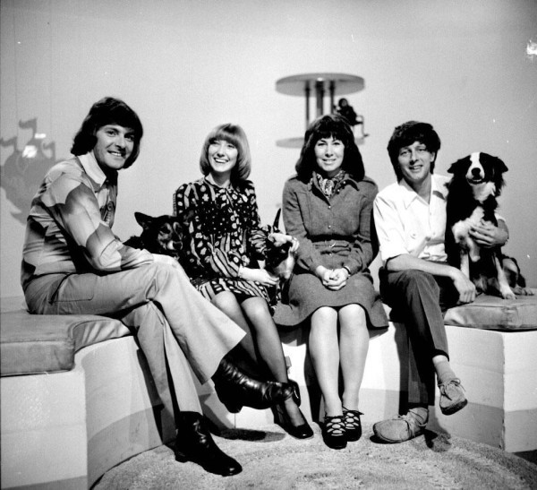 Former Blue Peter presenters (left-right) Peter Purves, Lesley Judd, Valerie Singleton and John Noakes (PA)