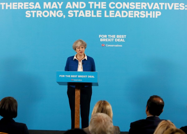Prime Minister Theresa May speaks during a General Election campaign visit