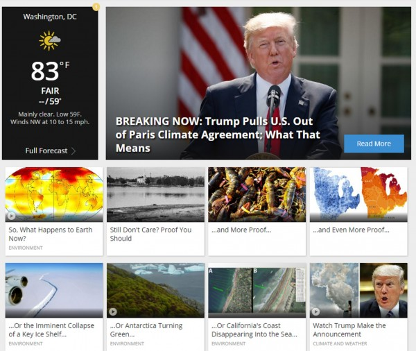 weather.com's home page on June 1, 2017