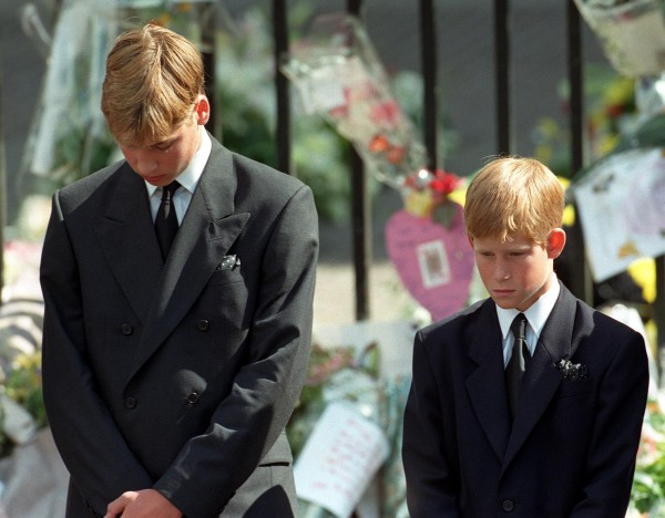 Prince William and Prince Harry following Diana's funeral service (Adam Butler/PA)