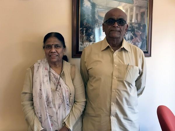 Buddhadev Kansara, 79, with wife Sumitra Kansara, 75 (Maariyah Pathan/PA)