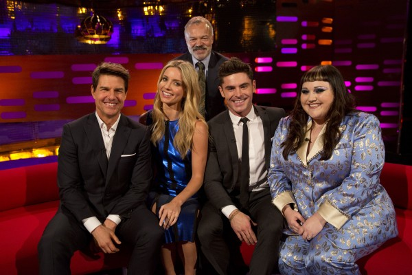 Tom Cruise, Annabelle Wallis, Graham Norton, Zac Efron and Beth Ditto filming the Graham Norton Show