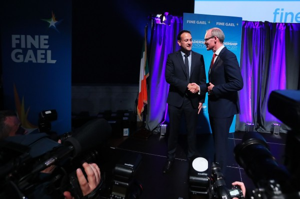 Simon Coveney (right) congratulates Leo Varadkar